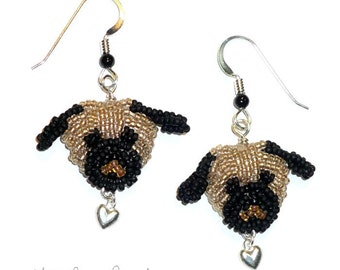 PUG LOVE bead embroidery dog earrings w/ sterling silver hearts/ Made to Order