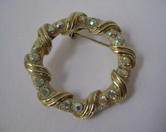 Aurora Gold Brooch Rhinestone Circle Pin Vintage