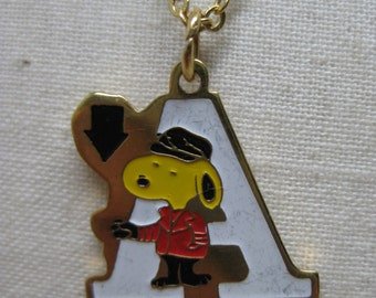 Snoopy Initial A Necklace Red White Gold Yellow Black Vintage Pendant