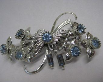 Flower Blue Silver Filigree Brooch Rhinestone Vintage Pin