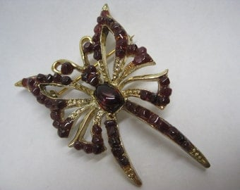 Butterfly Brown Gold Brooch Vintage Pin