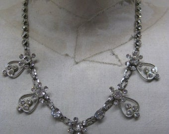 Flower Rhinestone Necklace Choker Clear Silver Vintage