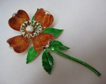 Flower Amber Orange Enamel Brooch Green Vintage Pin