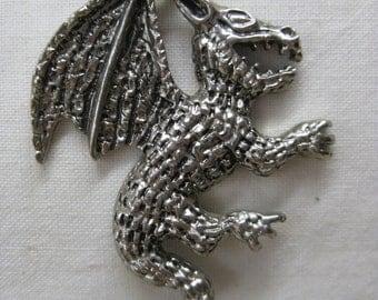 Dragon Necklace Silver Vintage Pendant
