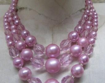 Pink Pearl Three Strand Necklace Vintage Japan