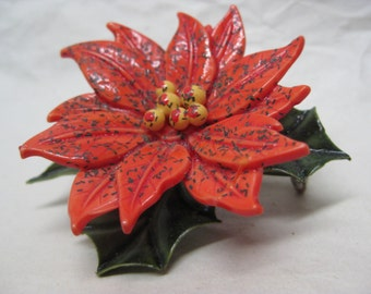 Poinsettia Brooch Red Green Plastic Vintage Pin