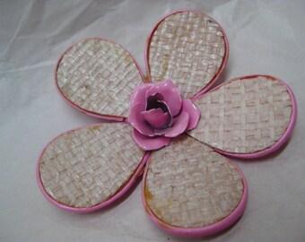 Flower Pink Woven Enamel Brooch Vintage Pin