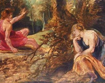 Cephalus and Procris by Peter Paul Rubens - an Original, Vintage 1954 Frameable Art Print