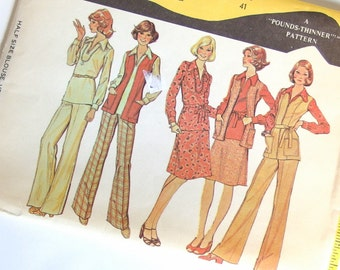 Vintage Sewing Pattern - 1970s UNCUT Blouse, Vest, Skirt and Pants McCalls 4225 Pattern,  Bust 41 Inches, Size 18.5