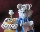 Felt Mouse Doing Counted Cross Stitch