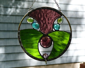 Stained Glass, Garden Art, Suncatcher with, Decorative Beading, and Mirrors
