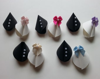 Paper Fortune Cookie Favors - Wedding - White Dress Black Tux - Satin Bow with Pearl Accent Colors - Bridesmaid Dresses, Bridal Shower, Gift