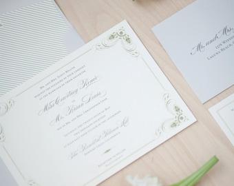 Rustic Wedding Invitation - vintage, rustic, woodland invitation, traditional, elegant, monogram envelope liner SAMPLE
