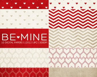 Be Mine Lipstick Digital Paper Collection - 10 Digital Paper Designs - Great for Scrapbooking or Photographers - PX8023
