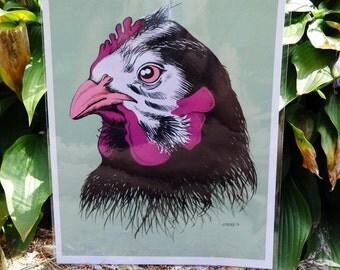 """Neon Chicken Print - 8x10"""""""