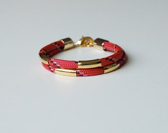 Hot Pink Bungee Cord Bracelet with Gold Plated Tubes