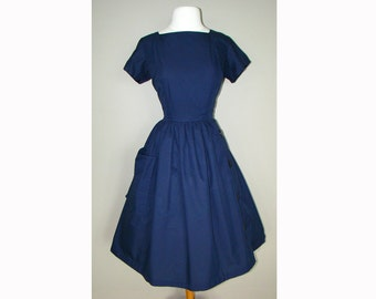 Navy Blue 1950's Party Dress 50s