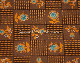 """Mod Blue Roses- Vintage Fabric New Old Stock Oranges Browns Geometric Juvenile 36"""" wide"""