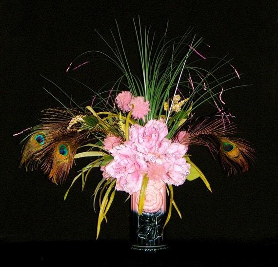 Cottage Chic Couture, Silk Flower Arrangements, French Script Peonies, Peacock Feathers, Retro Vintage Vase
