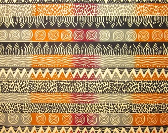 Zimbabwean hand printed and hand dyed batik - 1/2 yard of natural Ndoro Stripe