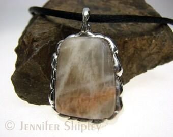 Peach Moonstone Pendant: Tumbled Feldspar Mineral, Handmade Nickel-Free Healing Gemstone Jewelry, Hypoallergenic
