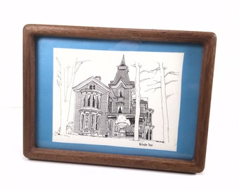 Vintage wooden frame lithograph of the wellington house art