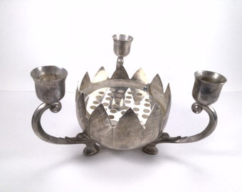Vintage  Ornate Silverplate 3 Arm Candelabra Candle Holder with Bowl