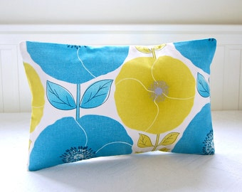 poppies and leaves lumbar cushion cover 12 x 18 inch, blue citrus yellow decorative pillow cover,