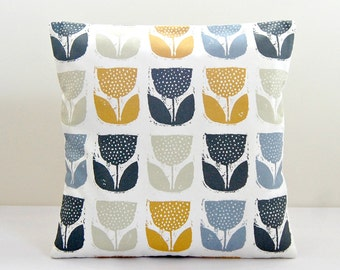 grey blue, mustard, charcoal gray, light sage flower cushion cover, flower pillow cover 16 inch