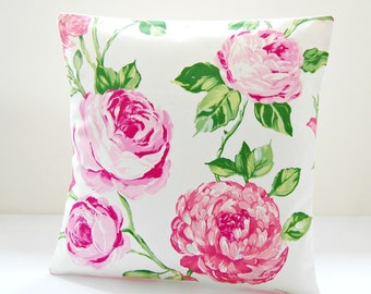 large pink roses floral cushion cover, green leaves, 16 inch cerise bubblegum pink decorative pillow cover