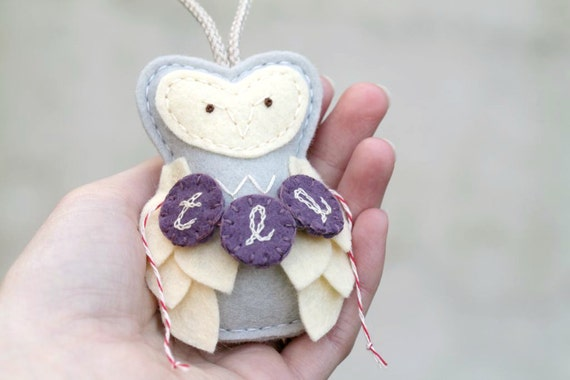 Baby's First Christmas Owl Ornament, Personalized Initials or Birth Date, Baby Girl Gray Purple Woodland Ornament by OrdinaryMommy
