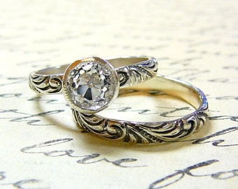 Ophelia Ring Duo - Vintage Engagement Sterling Silver Ring Duo with Milgrain bezel set with OEC White CZ