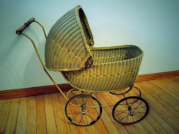 Antique Lloyd Loom Wicker Doll Carriage 1920s To 1930s