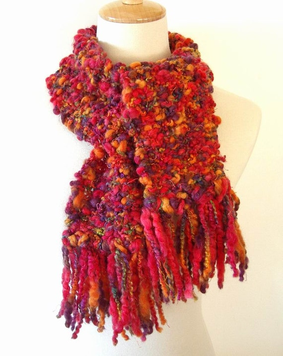 Knit Scarf Autumn Multicolored Boucle Handmade with Fringe REDUCED PRICE