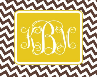 Custom chevron monogram notecards personalized stationery brown chevron wedding bridal