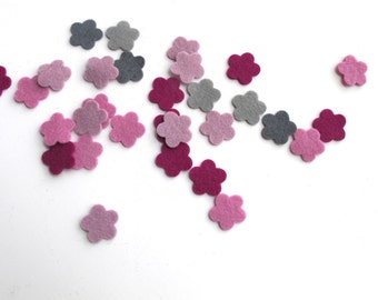 Felt Flowers, Wool Felt Flowers Set of 30, Applique, Confetti, Party Supply, Ashes of Roses Color Story, DIY Wedding