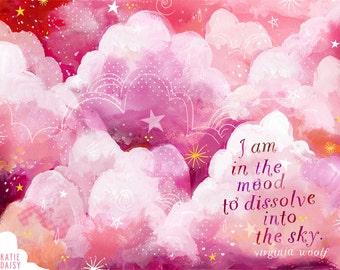 Pink Sky art print | Watercolor Wall Art | Paper Print | Virginia Woolf