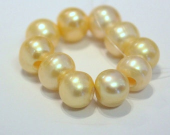 Large Hole Pearl Round Pearl Freshwater Pearl yellow champagne AA 7-8mm with 2.5mm hole beads--10 pc high quality  #LH8007