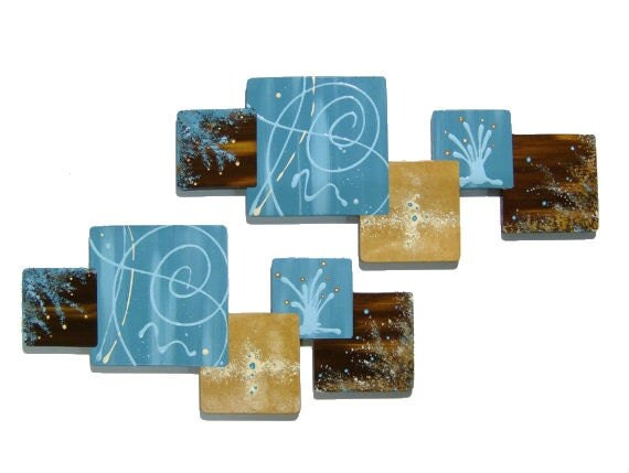 New 2pc Wooden Painted Turquoise & Brown Abstract Squares Wall Sculpture hangings, Contemporary home/Office Decor