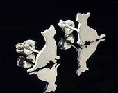 Terrier Sterling Silhouette Ohrring Ohrstecker
