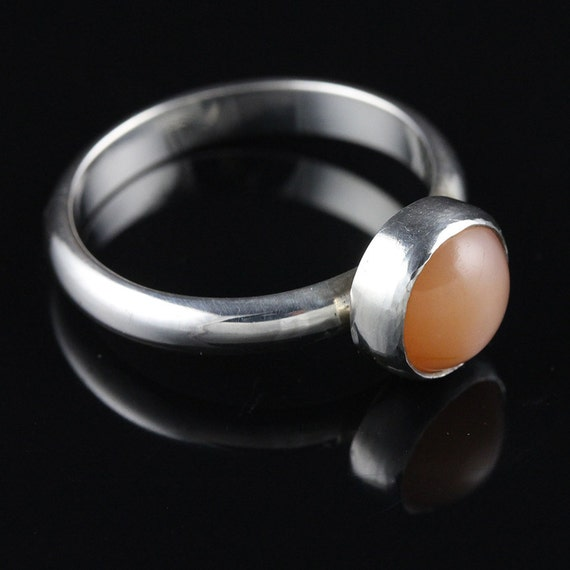 SALE - Sterling Silver Carnelian Cabochon Ring - 40% OFF