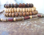 Recycled Wood Beaded Elastic Bracelets/Necklace set For pg12345