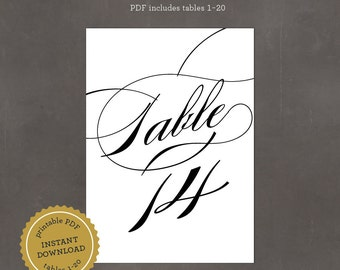 INSTANT DOWNLOAD Printable Calligraphy Script Table Numbers, includes tables 1-20