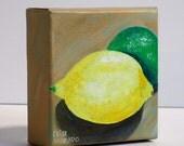 Lemon and Lime, original acrylic painting, citrus fruit painting by Elisa Alvarado