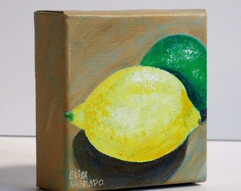 Lemon and Lime, original acrylic painting, citrus fruit painting by Elisa Alvarado