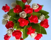 Polymer Clay Flowers Supplies Hot Red Roses and Romantic White Flowers
