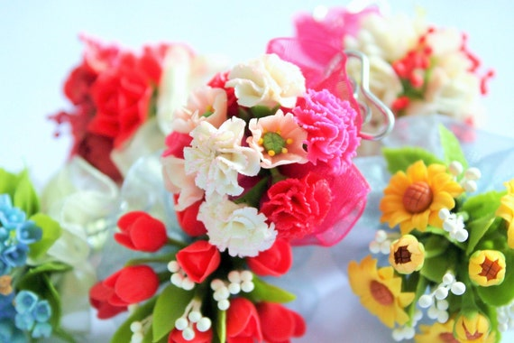 Mixed color of Carnation and pink Poppy Bouquet, miniature handcrafted flowers