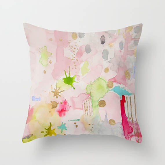 Pink Abstract Pillow-Celestial Pink Decorative Pillow, Cushion, Throw Pillow