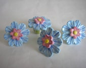 Blue and Pink Summer Flower Drawer Pull, Knob, Handle