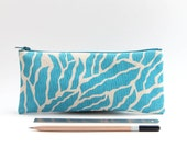 Blue Zipper Pouch, Small Valentine's Gift for Teen Girls, Organic Cotton Pencil Case, College Student Gift, Turquoise Pattern Canvas Pouch.